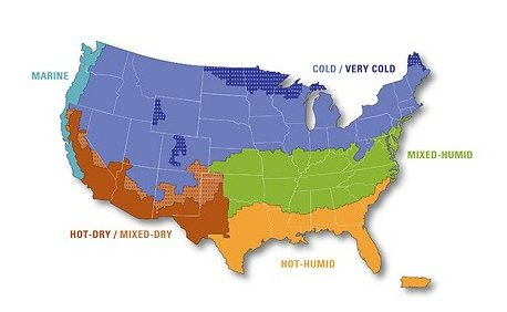 Map of the United States showing climate zones.