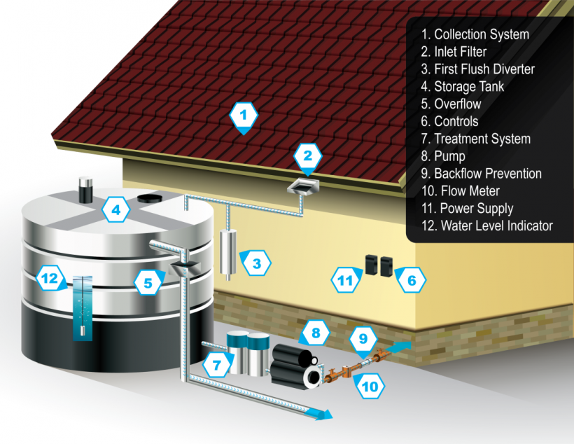Graphic shows a schematic of a rainwater harvesting system next to the exterior of a house.
