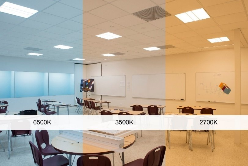 A comparison of 3 lighting types in a classroom. 6500K, 3500K & 2700K.