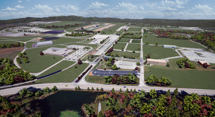 3-D rendering of the East Tennessee Technology Park in 2020