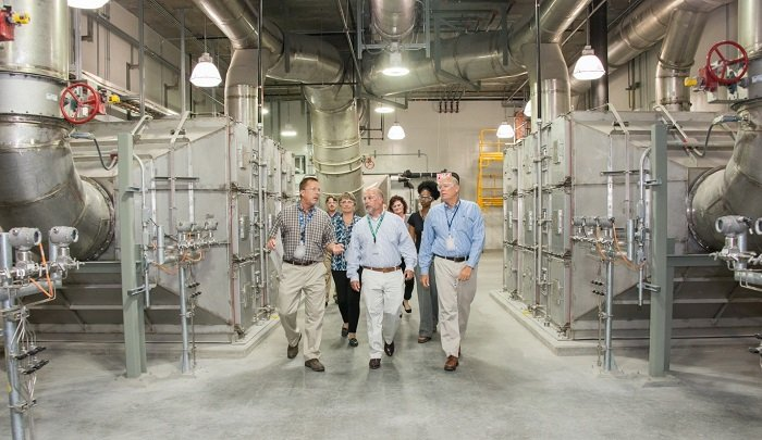 Pictured left to right, DOE-Savannah River SWPF Project Office Facility Representative Steve Stamper, Roger Jarrell and SRS Manager Jack Craig visit the Salt Waste Processing Facility (SWPF).
