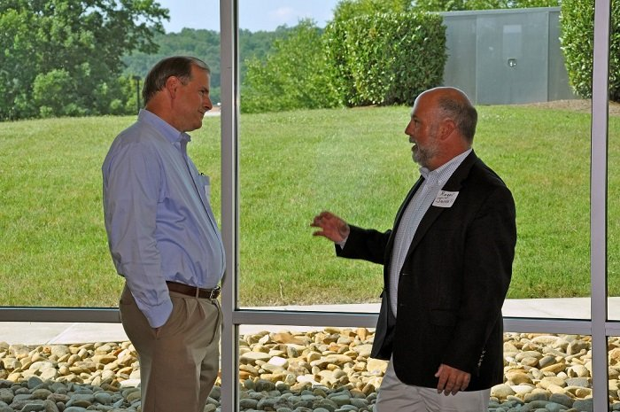 Jarrell, right, met with leaders and local stakeholders at a community reception in Oak Ridge, including Oak Ridge National Laboratory Site Office Manager Johnny Moore.