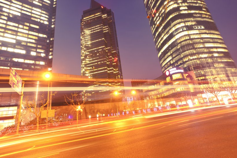 Cityscape at night with lights