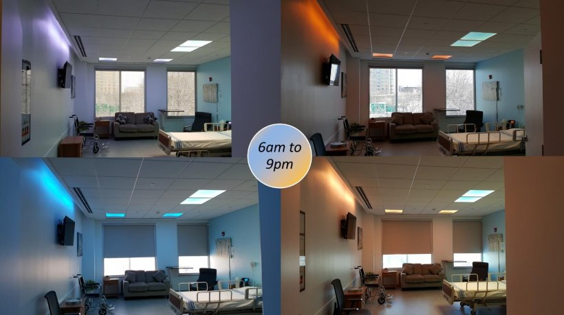 Four photos of a patient room with color-tunable lighting.
