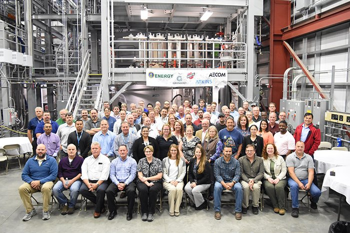 Employees from the Office of River Protection, Bechtel National, AECOM, and Atkins Engineering recently celebrated the completion test operations for the final phase of full-scale testing of pulse jet mixed vessels and control systems.