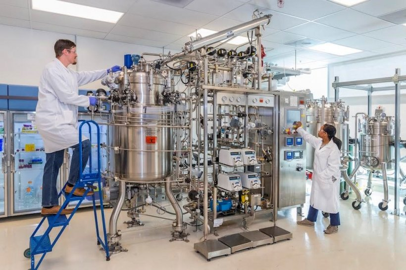 Two scientists work on lab equipment at the Advanced Biofuels Process Development Unit
