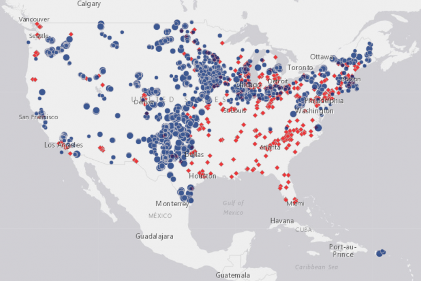 A screenshot of the AWEA U.S. wind industry map.