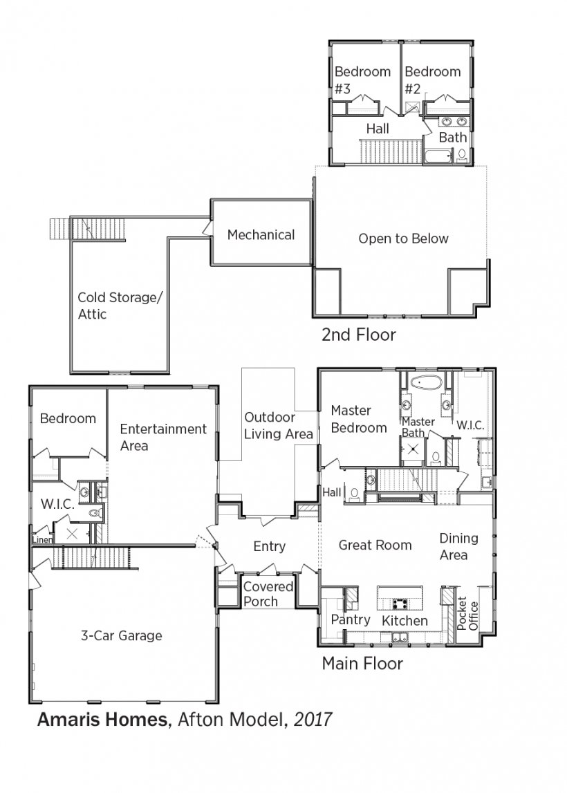Floorplans for Afton Model by Amaris Homes.