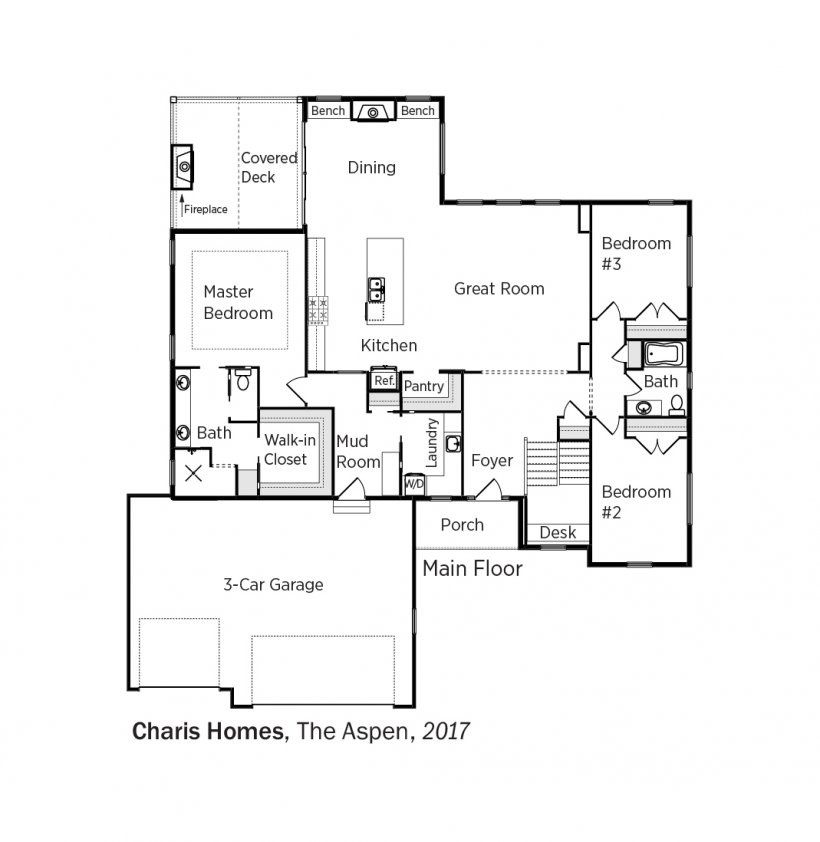 Floorplans for The Aspen by Charis Homes.