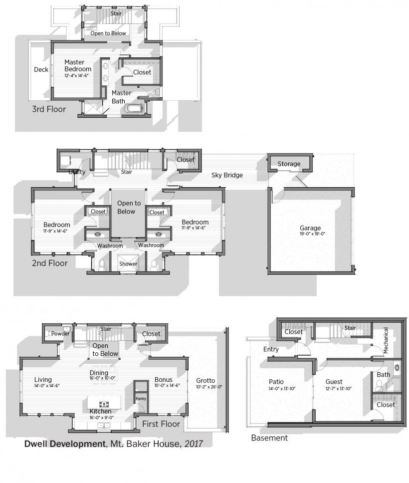 Floorplans for Mt. Baker House by Dwell Development.