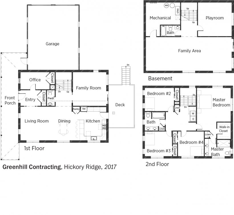 Floorplans for Hickory Ridge by Greenhill Contracting.