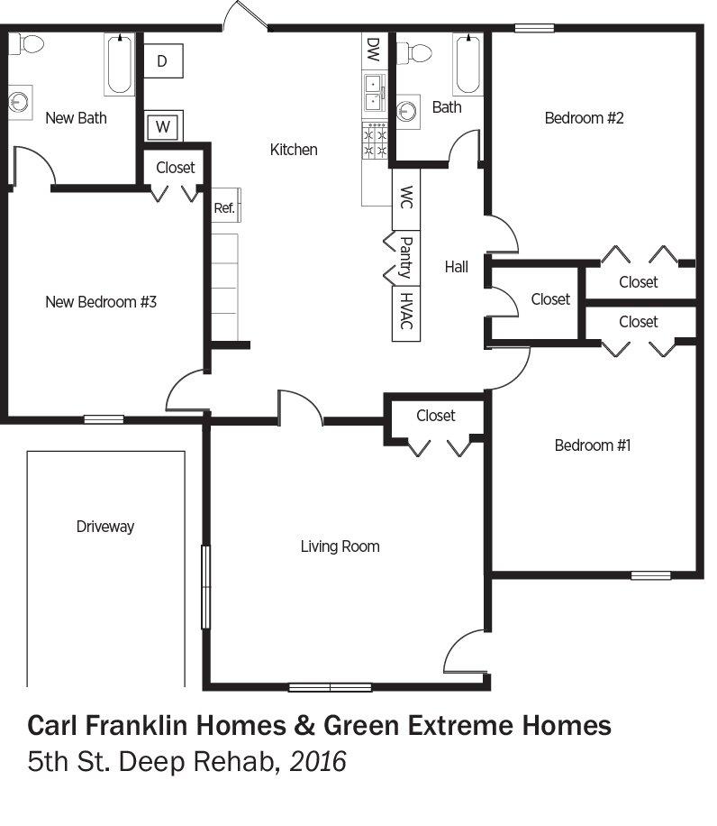 DOE Tour of Zero: 5th Street Deep Rehab by Carl Franklin Homes & Green Extreme Homes floorplans.