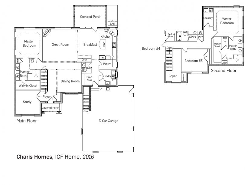 DOE Tour of Zero: ICF Home by Charis Homes floorplans.