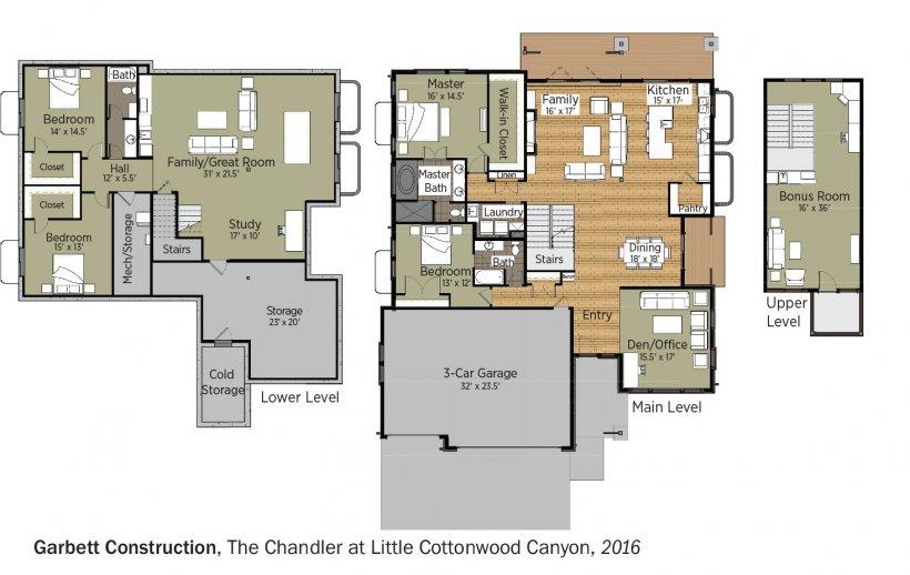 DOE Tour of Zero: The Chandler at Little Cottonwood Canyon by Garbett Construction floorplans.