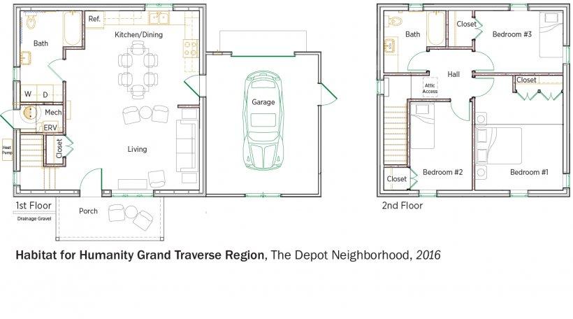 DOE Tour of Zero: The Depot Neighborhood by Habitat for Humanity, Grand Traverse Region floorplans.