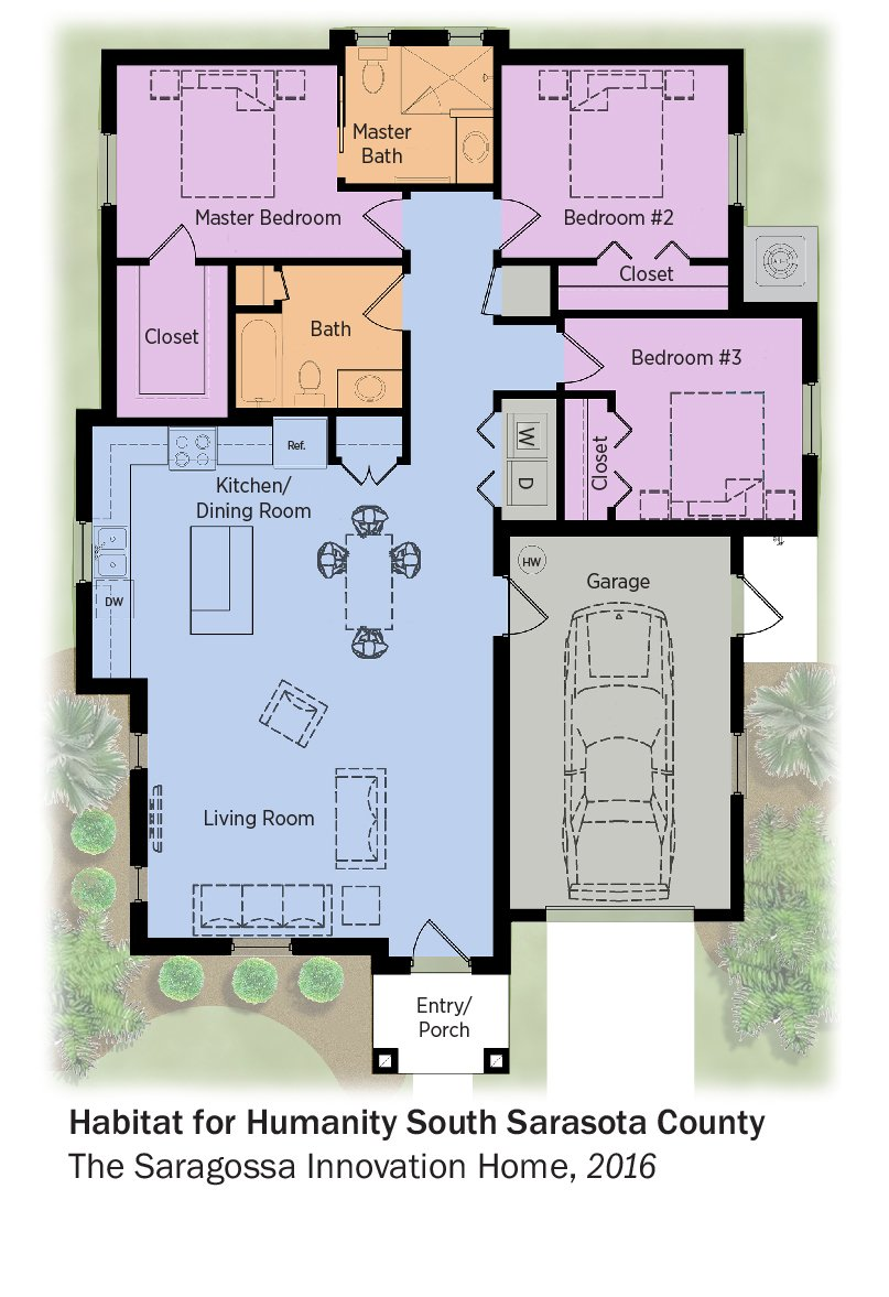 DOE Tour of Zero: The Saragossa Innovation Home by Habitat for Humanity, South Sarasota floorplans.