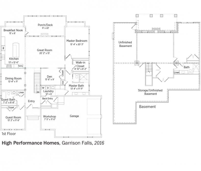 DOE Tour of Zero: Garrison Falls by High Performance Homes floorplans.