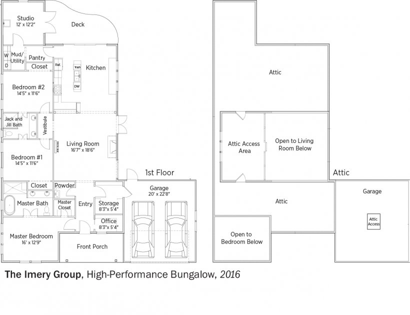 DOE Tour of Zero: High-Performance Bungalow by Imery Group floorplans.