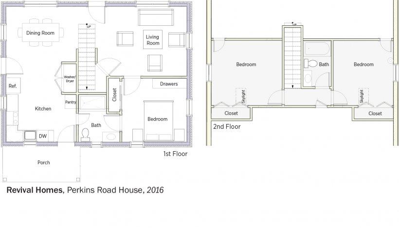 DOE Tour of Zero: Perkins Road by Revival Homes floorplans.