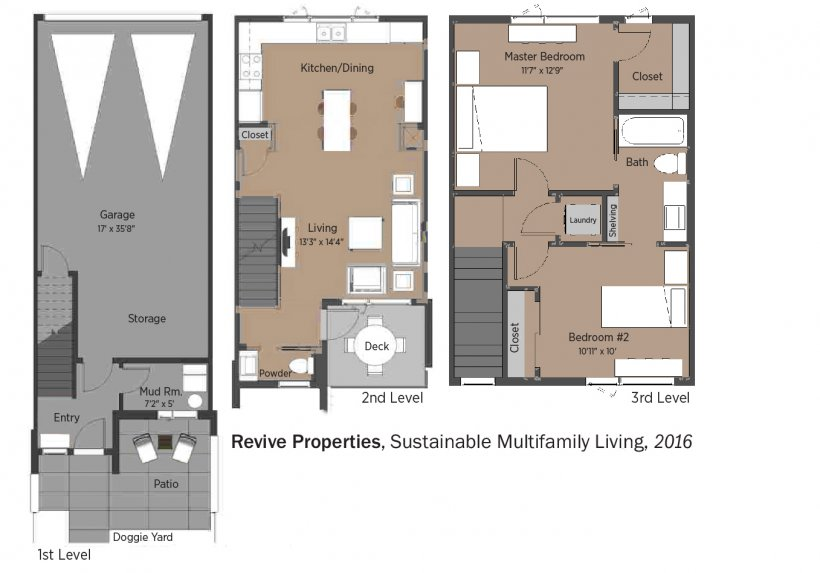 DOE Tour of Zero: Revive Sustainable Multifamily Living by Philgreen Construction floorplans.