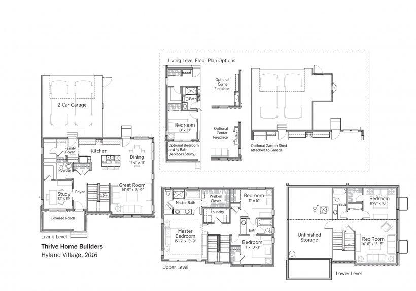 DOE Tour of Zero: Hyland Village by Thrive Home Builders floorplans.