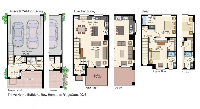 DOE Tour of Zero: Row Homes at RidgeGate by Thrive Home Builders floorplans.