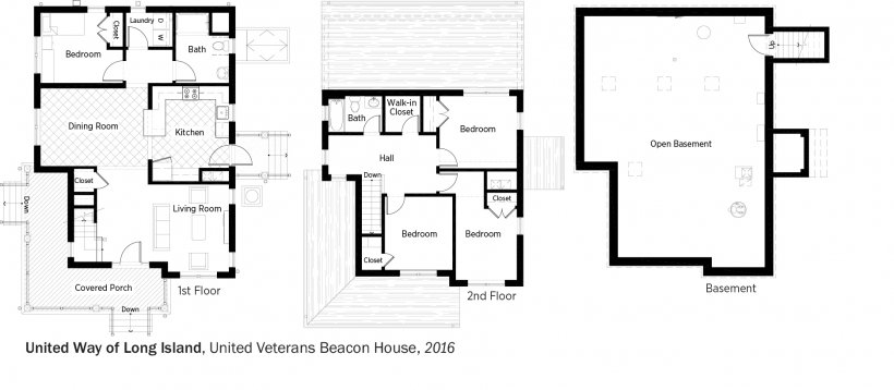 DOE Tour of Zero: United Veterans Beacon House by United Way of Long Island floorplans.
