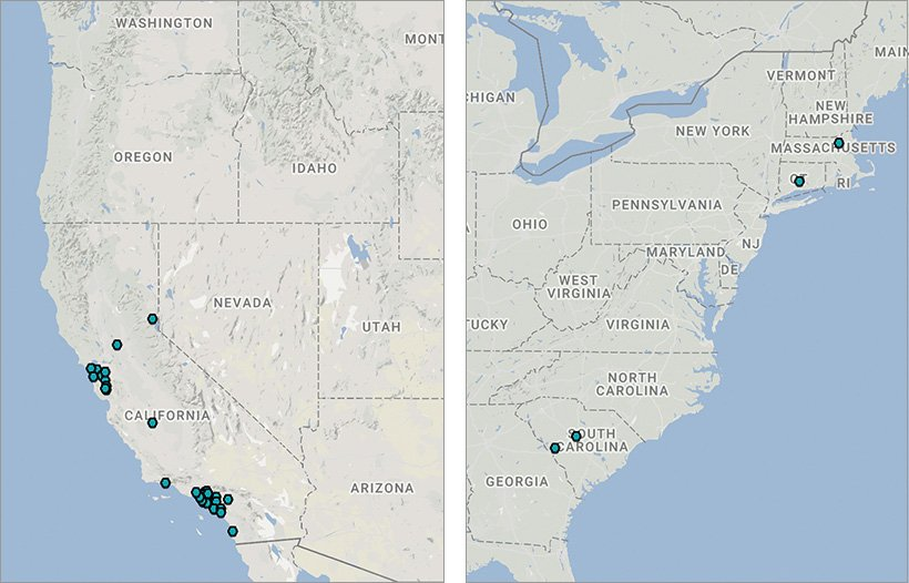 The map for California shows that most of the hydrogen stations are clustered in the San Francisco and Los Angeles areas. The map for the East Coast shows two hydrogen stations in South Carolina, one in Connecticut, and one in Massachusetts.
