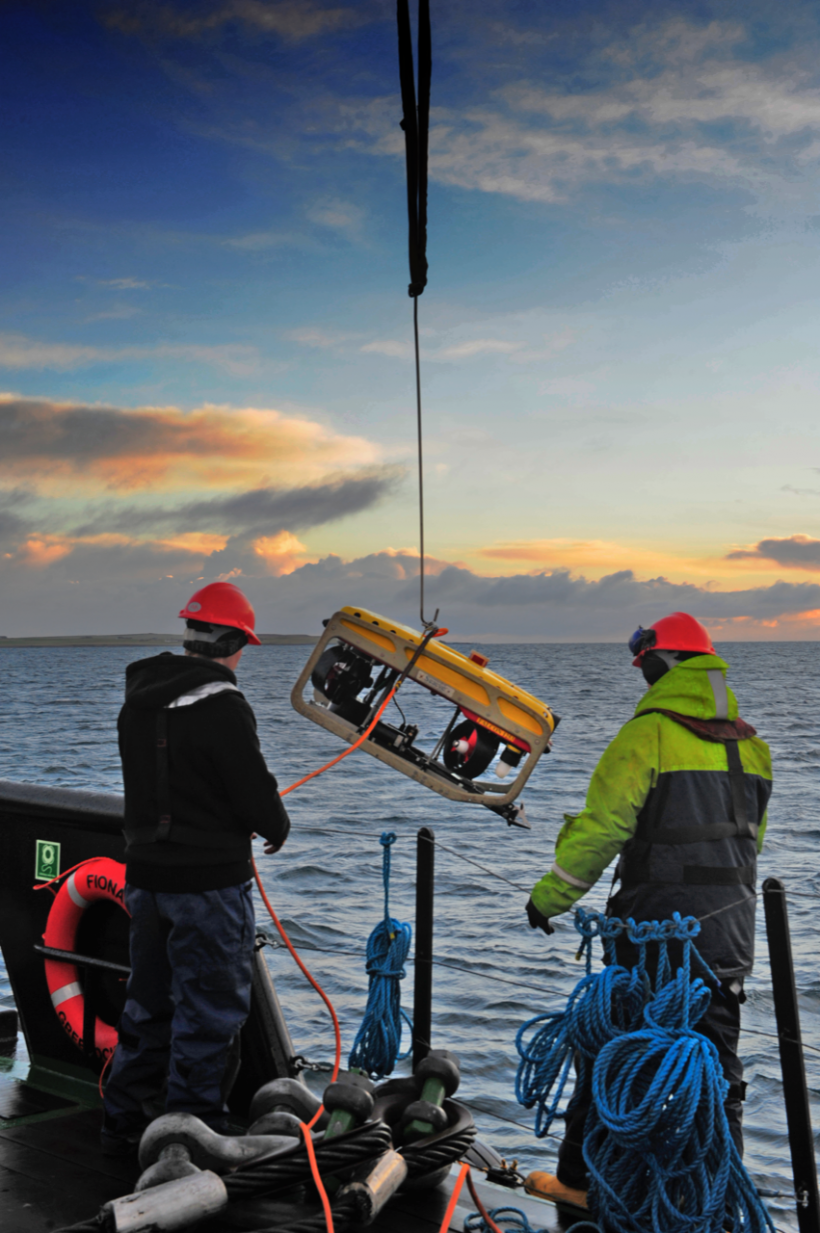 A remotely operated vehicle is lowered into waters.