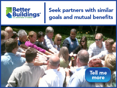 """Graphic with a photo of a group of people, the Better Buildings logo, and the words """"Seek partners with similar goals and mutual benefits."""""""