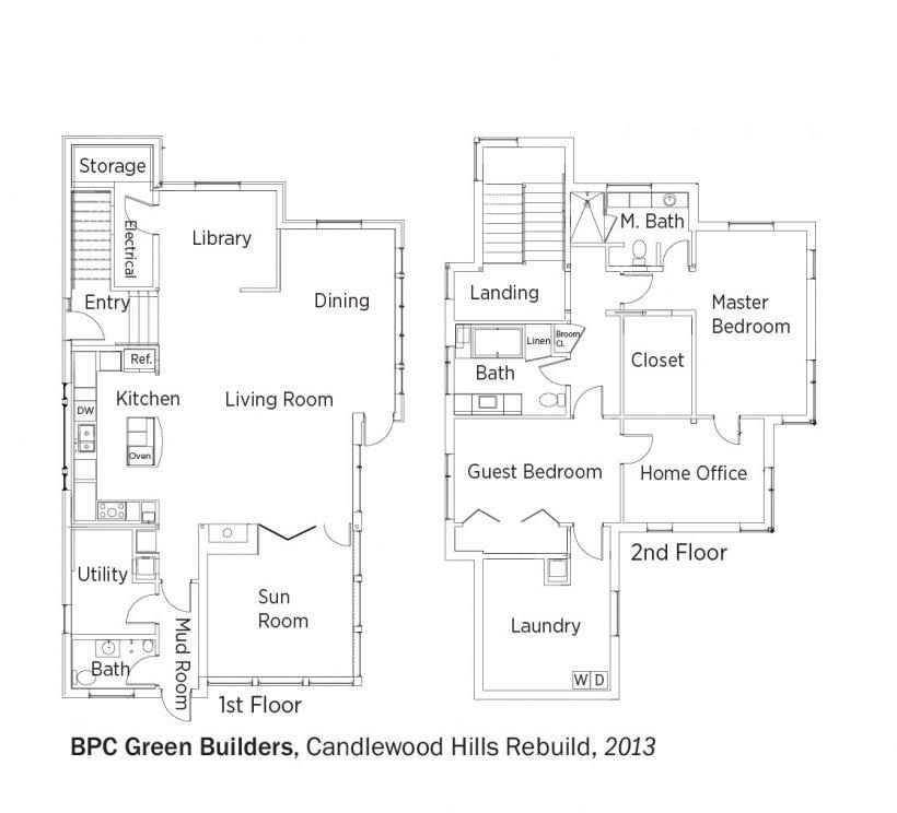DOE Tour of Zero: Candlewood Hills Rebuild by BPC Green Builders floorplans.