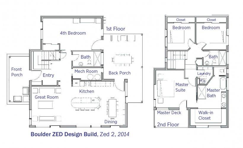 DOE Tour of Zero: ZED 2 by Boulder ZED Design Build floorplans.
