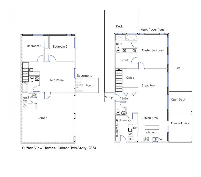 DOE Tour of Zero: Clinton Two-Story (Kaltenbach) by Clifton View Homes floorplans.