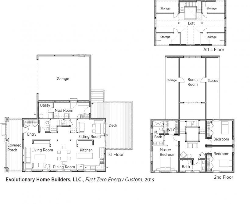 DOE Tour of Zero: Illinois First Zero Energy Custom by Evolutionary Home Builders LLC / Weiss floorplans.