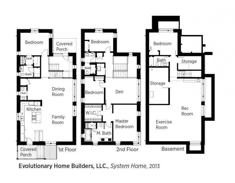 DOE Tour of Zero: System Home by Evolutionary Home Builders LLC / Weiss floorplans.