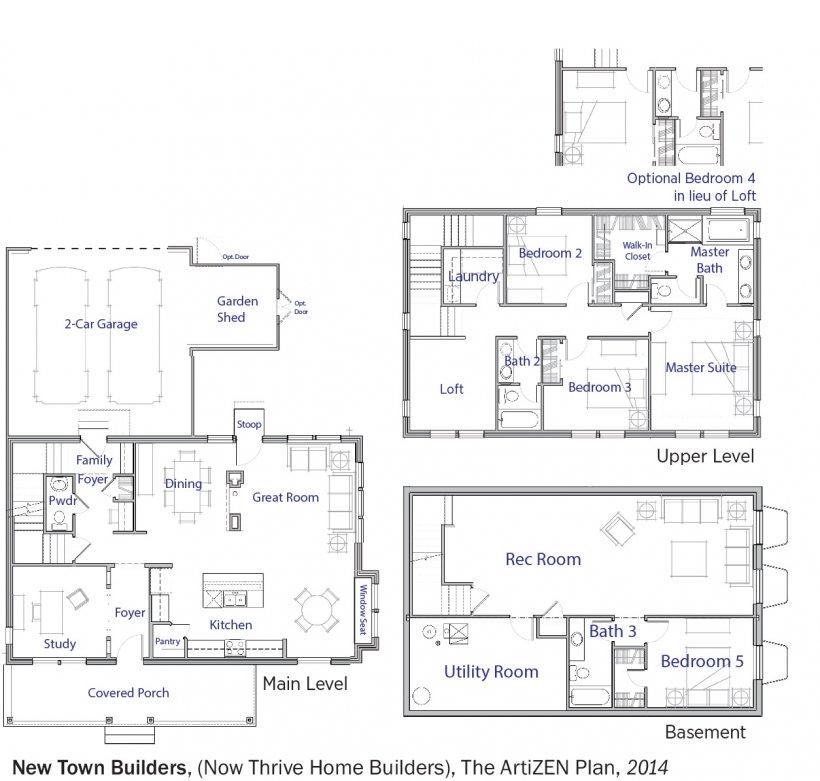 DOE Tour of Zero: The ArtiZEN Plan by New Town Builders floorplans.