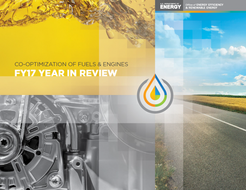 Co-optimization of fuels & engines - FY17 Year in Review. a stylized images of a motor, a road and a plash of fuel.