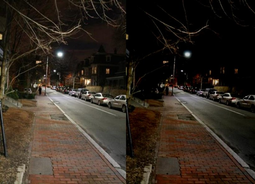 Figure 8. 4000 K LED Street Lighting System in Cambridge, MA, shown at initial startup at dusk (left) and 50% dimmed after midnight (right).  Photos: WSP   Parsons Brinckerhoff