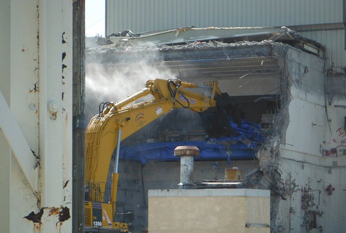 Crews demolish a portion of the West Valley Demonstration Project Vitrification Facility.
