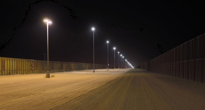 Photo of outdoor area lights at night.