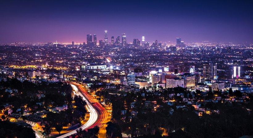 the night skyline of a city