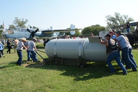 Photograph of final B53 nuclear wapons case being delivered to the Freedom Musuem USA.