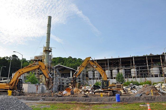 Demolition is underway on the TSCA Incinerator.