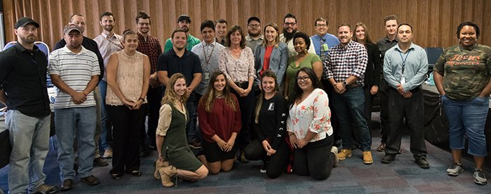EM Assistant Secretary Anne White, center, gathers with members of the Waste Isolation Pilot Plant Young Professionals group.