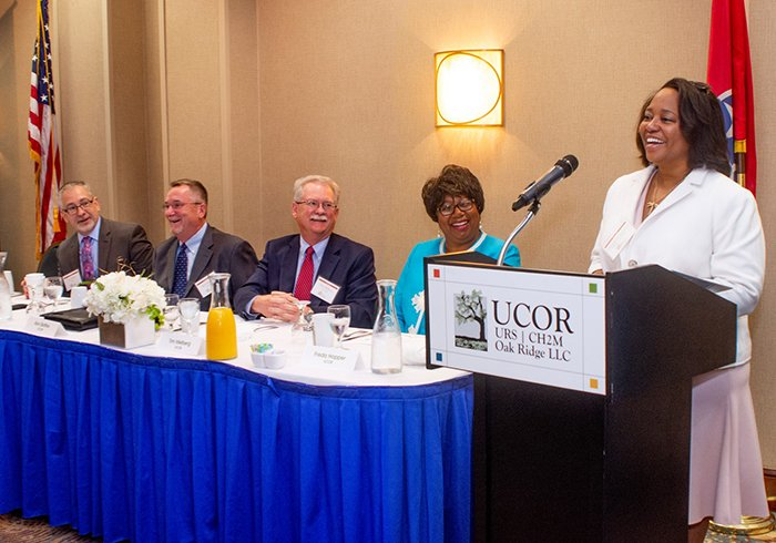 Christy Jackiewicz, deputy director for DOE's Office of Small and Disadvantaged Business Utilization, speaks at URS|CH2M Oak Ridge's (UCOR) 2018 small business awards program.