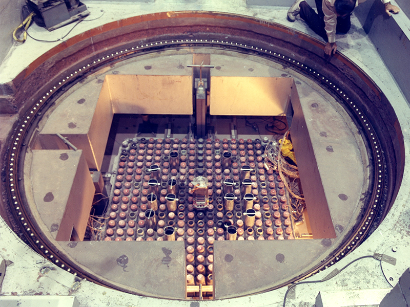 A view of a test reactor fuel core.