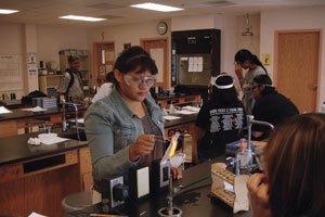 Students running experiments at the Santa Fe Indian School.