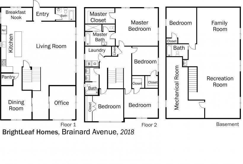 DOE Tour of Zero: Brainard Avenue by BrightLeaf Homes floorplans.