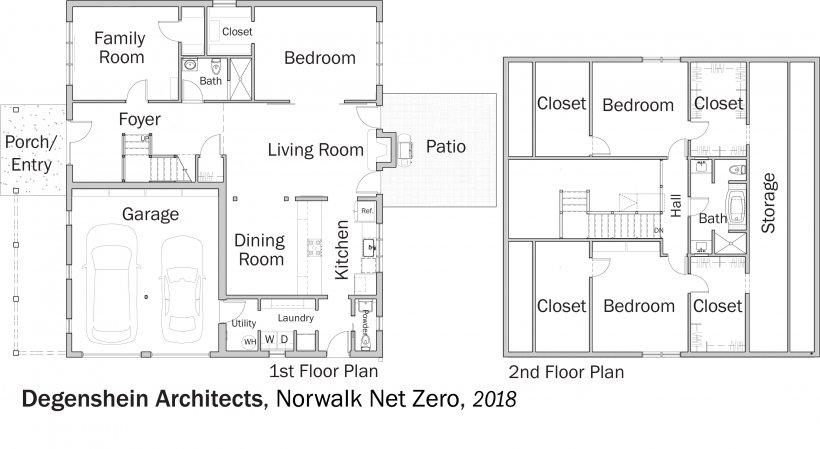 DOE Tour of Zero: Norwalk Net Zero by Degenshein Architects floorplans.