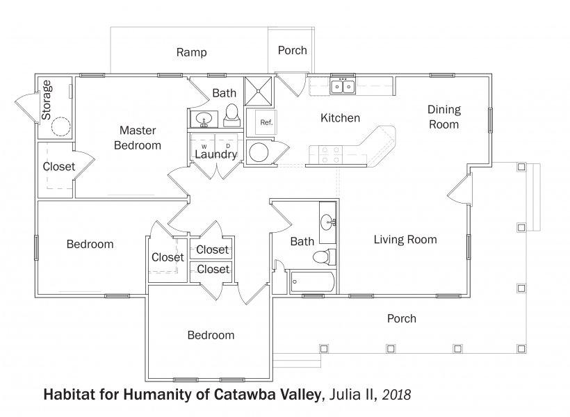 DOE Tour of Zero: Julia II by Habitat for Humanity of Catawba Valley floorplans.
